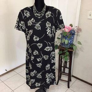 Talbots Black Dress w/White Flowers (size 12)(B6)